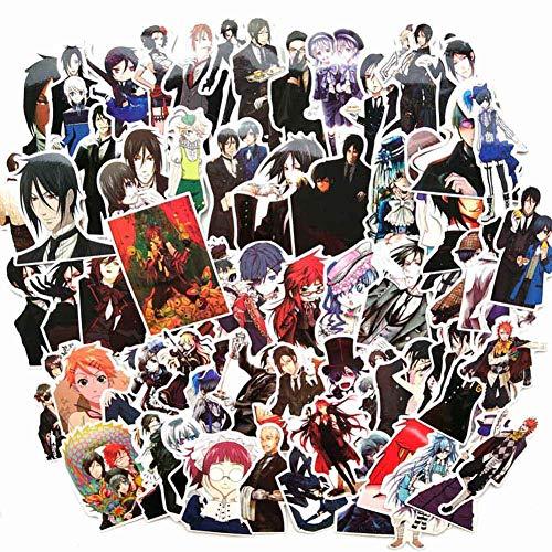 Mini Office Depot Japanische Anime Black Butler PVC Aufkleber, 70 Stück DIY Cartoon Anime Aufkleber für Laptop Gepäck Auto Skateboard Koffer Koffer Kühlschrank und mehr(70 Pcs-02)