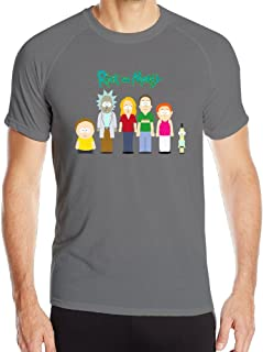 Men's Rick And Morty Running Short Sleeve Top Baselayer - Quick Drying Athletic Tee Shirt