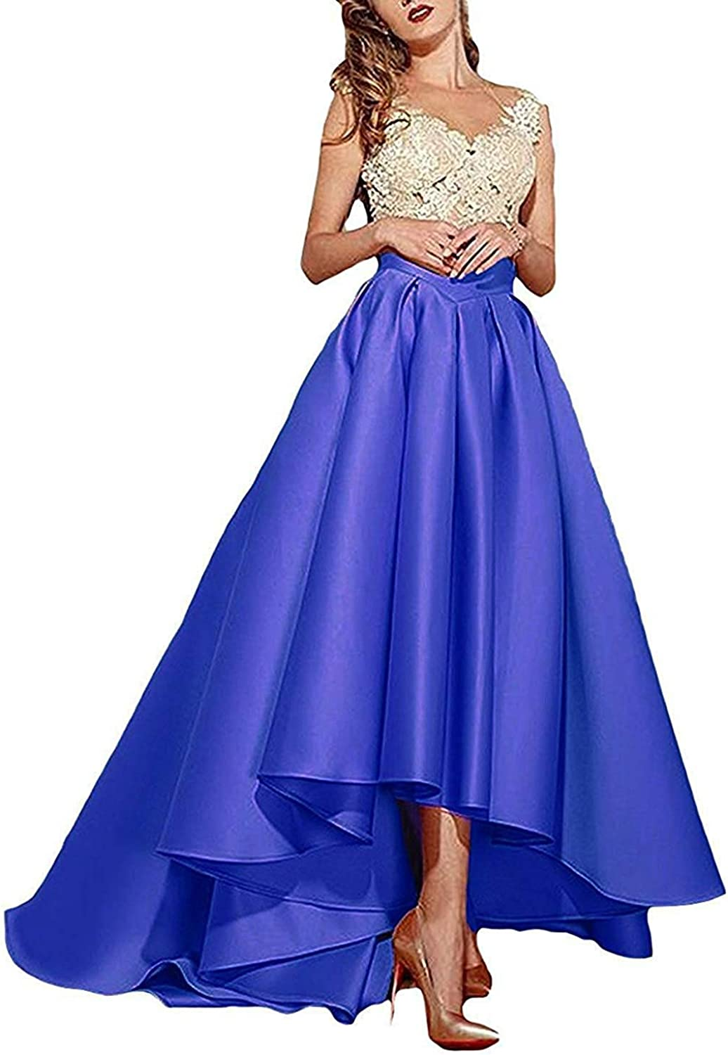 Rieshaneea High Low Prom Dresses Lace Evening Party Gowns