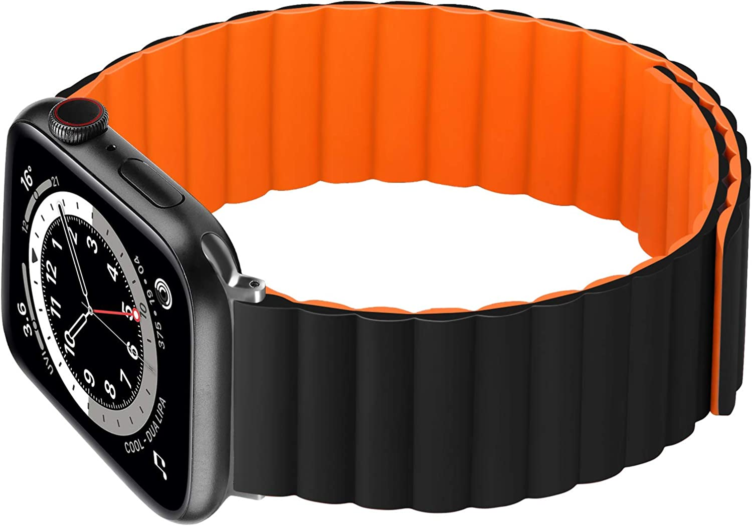 Silicone Magnetic Watch Band Compatible for Apple Watch 38 40 42 44mm Slim Soft Adjustable Loop Straps Premium Wristbands with Strong Magnetic Closure Replacement Strap for iWatch SE Series 6 5 4 3 2 1 Women Men Double Colors by HOCHYN