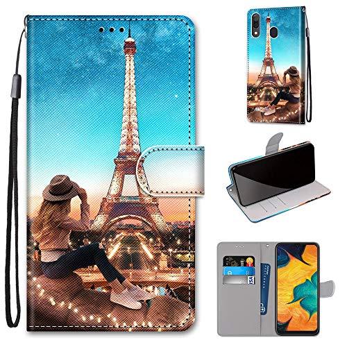Miagon Flip PU Leder Schutzhülle für Samsung Galaxy A20/30,Bunt Muster Hülle Brieftasche Case Cover Ständer mit Kartenfächer Trageschlaufe,Turm Mädchen