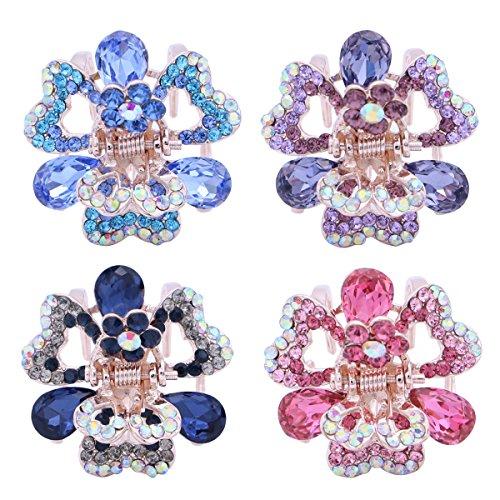 Frcolor - Pinze per capelli metalliche a forma di farfalla, decorate con cristalli, 4 pezzi, formato piccolo, per donne e ragazze, colore: viola, rosa, azzurro e blu