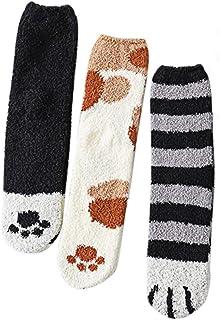 6 pares de calcetines de mujer fuzzy, calcetines de crema, bonitos dibujos animados, calcetines, gatos, garras de coral, forro polar, medias mullidas