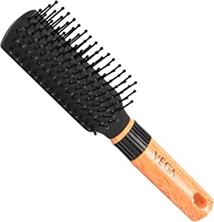 Vega Mini Flat Brush with Wooden Colored Handle and Black Colored Brush Head