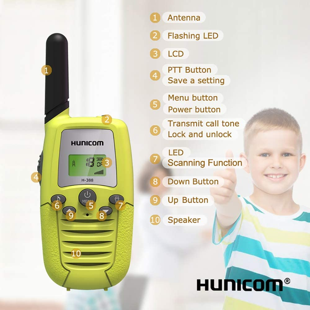Camping Friendly Design Toddlers Two Way Radio for Boys and Girls Hiking Kids Walky Talky for Family Activities HUNICOM Kids Walkie Talkies Biking Clear Sound Toy Walkie Talkies for Kids