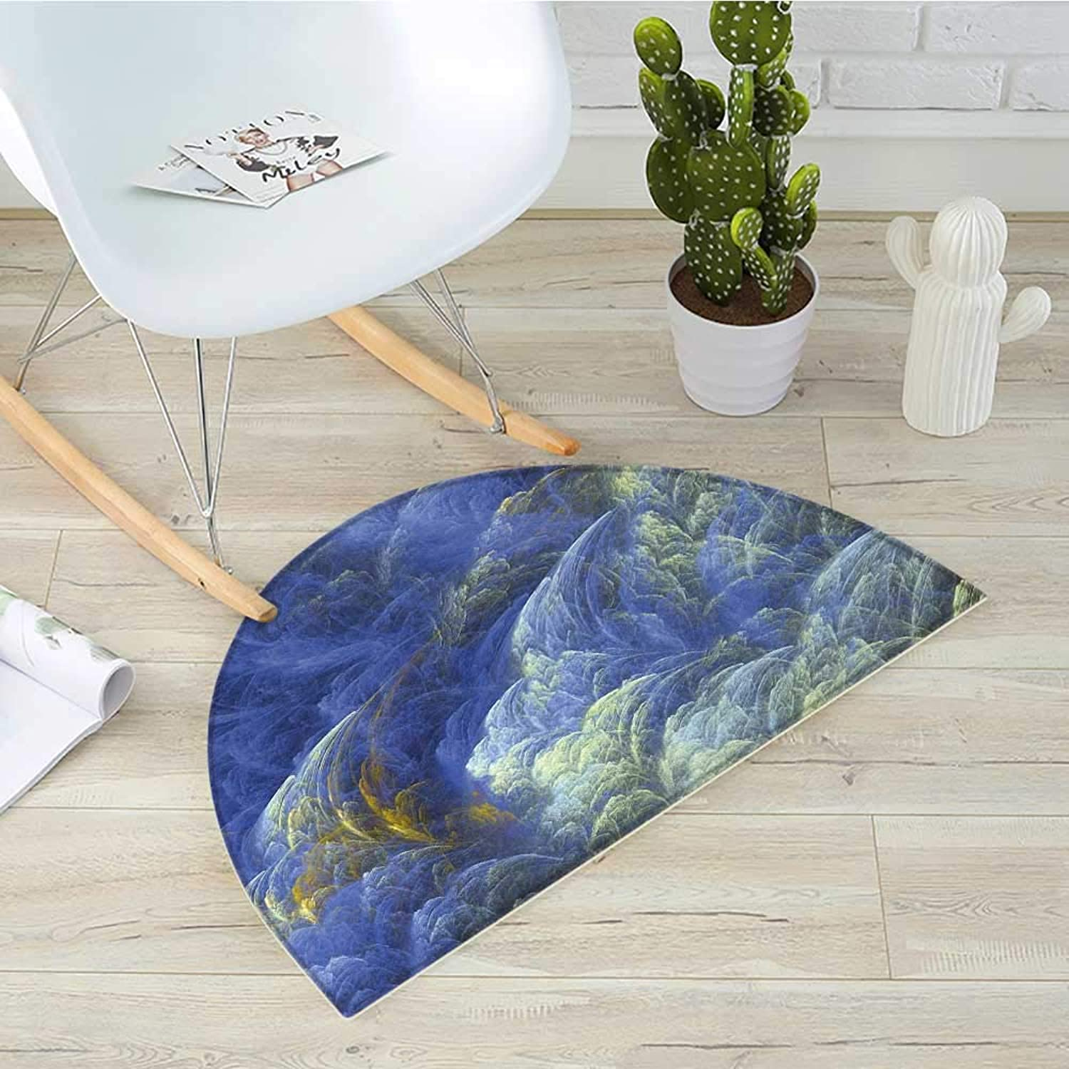 Fractal Semicircular CushionTrippy Hazy Fantasy Shapes with bluerry Effects Mystic Plasma Artful Pattern Entry Door Mat H 31.5  xD 47.2  bluee Light Yellow