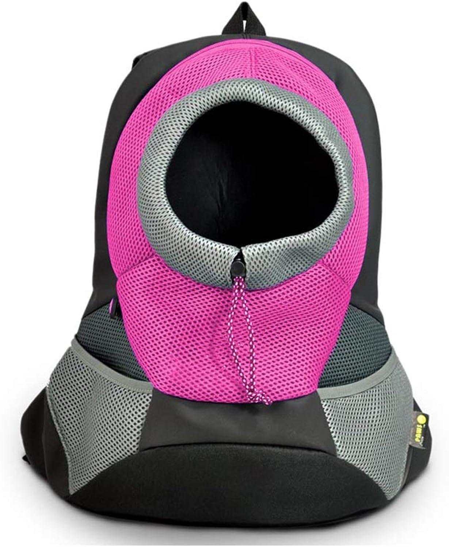 FJH Red Pet Bag Out Portable Dog Bag Cat Bag Dog Backpack Shoulder Pet Backpack Teddy Chest Bag (Size   L)
