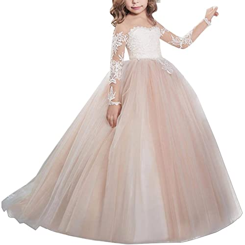 e07f43257f1 Flower Girls First Communion Dress Lace Applique Embroidered Kids Princess Wedding  Bridesmaid Floor Length Layered Puffy