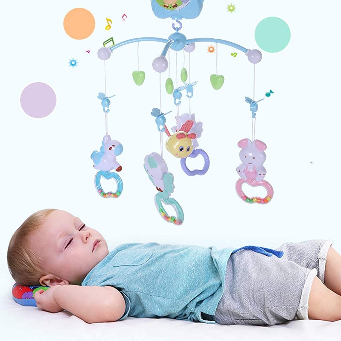 Viough Baby Crib Musical Mobile Toy with Music Light Infant Bed Decoration Hanging Toy, with Remote Holder Projector