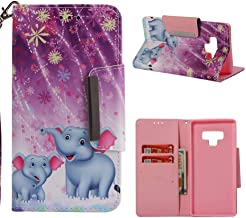 Galaxy Note 9 Case,Anti-Scratch Full Protective 3D Printing PU Leather Wallet Case Dust Proof Slim Inner TPU Bumper Card Holder Wrist Strap Kickstand Case for Samsung Galaxy Note 9 -two elephants