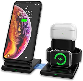 VR-robot Wireless Charger, 3 in 1 Charging Station for Apple Watch, Airpods, iPhone, with LED indicatorSeparable Design, C...