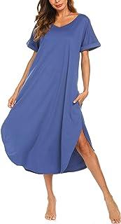 ثوب نوم AVIIER نسائي طويل من القطن برقبة على شكل حرف V ملابس نوم كاجوال بأكمام قصيرة