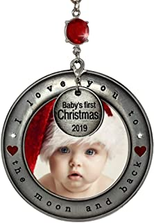 BANBERRY DESIGNS Baby's First Christmas 2019 - Picture Ornament I Love You to The Moon and Back - Dated Heart Charm - New Baby