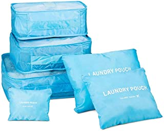 6 Piece Organizer Packing Bag With Laundry Pouch, Blue