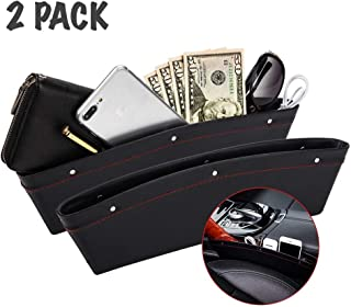 Car Seat Side Pocket - Premium PU Leather Car Gap Filler Storage Pockets, Easy Access Cellphones Cards Glasses Cables and Other Gadgets (Elegant Black, 2 PCS, Fits 0.8-1.6 inches)