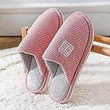 QPPQ Pantuflas de espuma viscoelástica, zapatillas de otoño/invierno, zapatillas de algodón cálidas y cómodas para hombres y mujeres-Rosado_6.5-7, zapatillas de algodón al aire libre