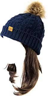 Wrapables Winter Warm Cable Knit Faux Fur Pom Pom Beanie