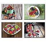 Frisches Obst Kirsche und Erdbeere Kunstdruck auf Leinwand