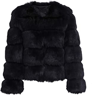 Simplee Apparel Damen Mantel Winter Elegant Warm Faux Fur Kunstfell Jacke Kurz Mantel Coat