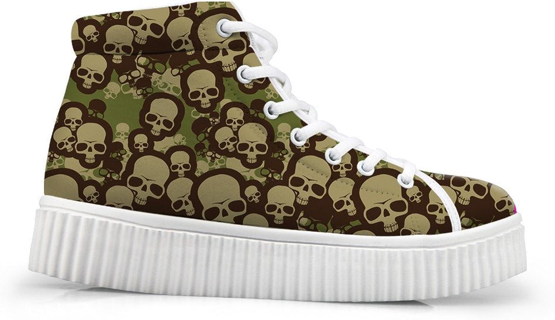 Mumeson Stylish Skull Pattern High Top Fashion Sneakers for Women Girls Platform shoes