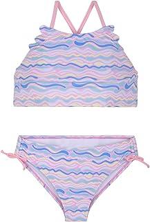 Hilor Girl's Strappy Bikini Set Two Piece Swimsuits Side Tie Hipster Swimwear Tassels Tankini Set