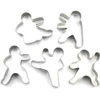 LAWMAN Kung Fu Karate Ninjabread man Cookie Cutter Fondant Baking Biscuit Fruit Cutter Set 5 pcs