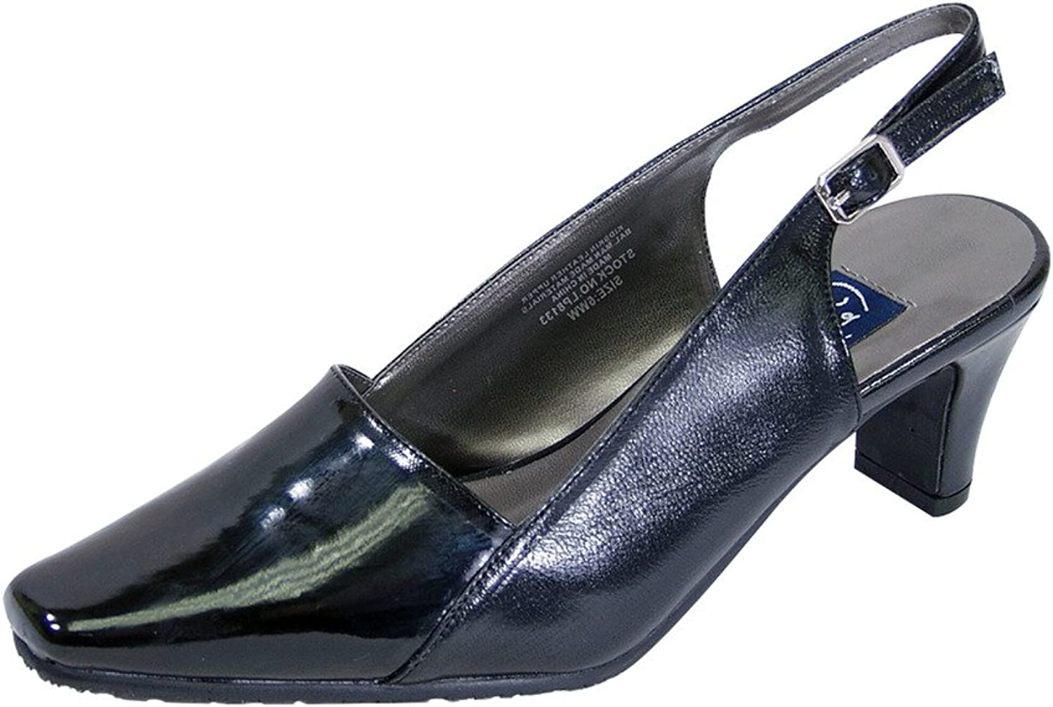 Peerage FIC Meredith Women Wide Width Shiny Faux Patent Square Toe Slingback Buckle (Size Measurement)