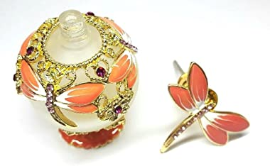 Coral Pink Gold Dragonfly Frosted Glass Perfume Bottle