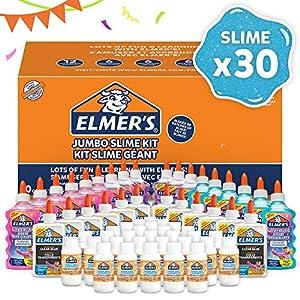 Elmer's Kit Slime Jumbo Paquete fiesta con pegamento con purpurina, transparente y solución activadora