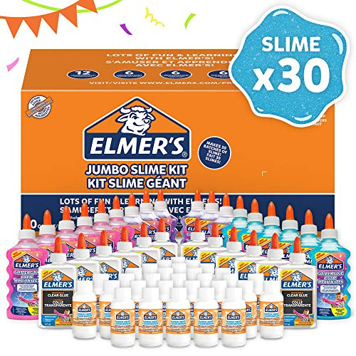 ELMER'S Kit per la Festa per Slime, 18 Flaconi di Colla Glitterata, 12 Flaconi di Colla Trasparente e 30 Flaconi di Attivatore di Slime, Confezione da 60 Pezzi