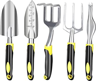 MiaoMei 5 piece Gardening Tools Set,Including Trowel,Transplanted,Cultivator,Weeder,Weeding Fork,Aluminum and Stainless St...