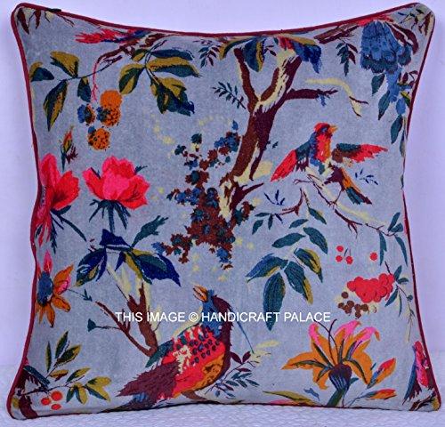 HANDICRAFT-PALACE Etnico Indiano Hippie Uccello Floreale Cuscino Divano, Cuscino Decorativo Euro Sham
