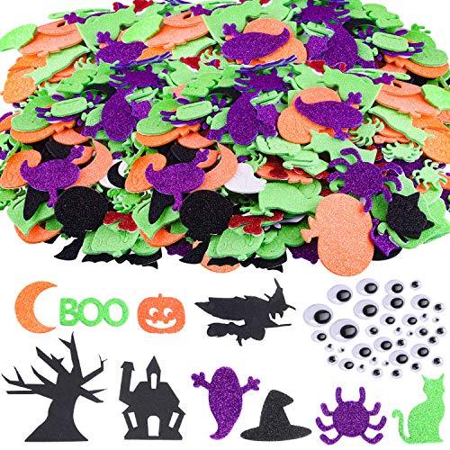 TUPARKA 220 Pcs Halloween Foam Stickers Glitter Self Adhesive Foam Stickers...