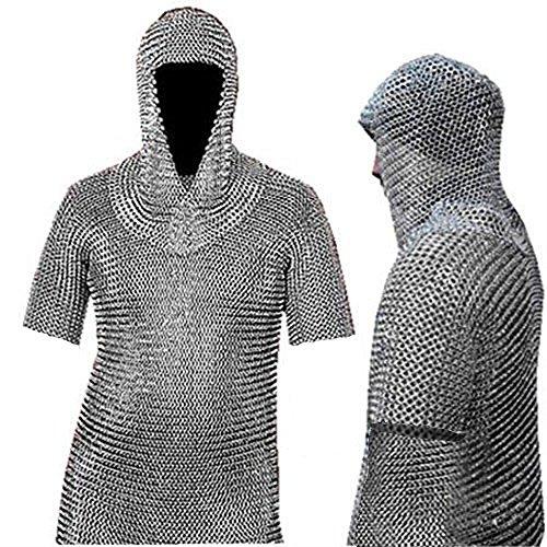 NASIR ALI Camisa y Capucha de Malla de Aluminio COIF BUTTED-Haubergeon-Viking Medieval-Armor