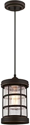 Westinghouse Lighting 6361500 Barkley One-Light Mini, Oil Rubbed Bronze Finish with Highlights and Clear Crackle Glass Indoor Pendant