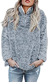 Howely Women Loose Shaggy Stand Collar Casual Fashion Blouse Sweatshirts