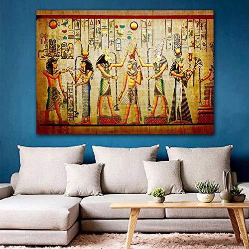 ZYWGG Lienzo Impresión Image Cuadro Faraón Egipcio Retro Lienzo Pintura Mural Pintura Mural Arte para Sala De Estar Cama Decoración De La Habitación