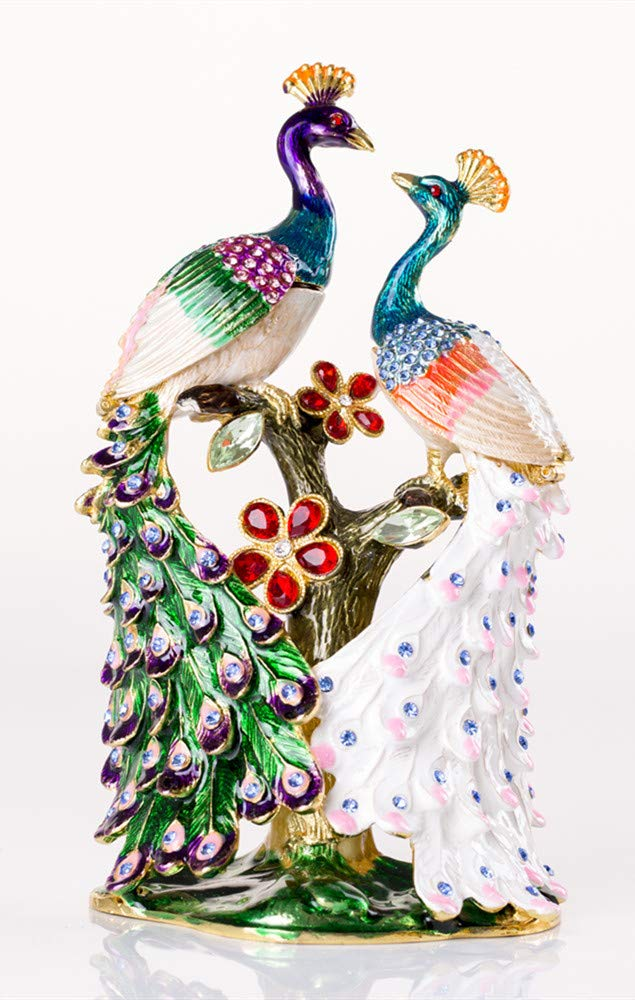 Image of Colorful Jeweled Peacock Trinket Box - See More