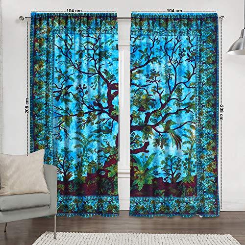 Tye and Dye Multi Yoga Mandala Tapestry Room Curtains Boho Sheer Curtains Mandala Window Rod Pocket Cotton Curtain Hippie Tapestry Door Curtain Drape Balcony Window Length Curtains (Turquoise TL)