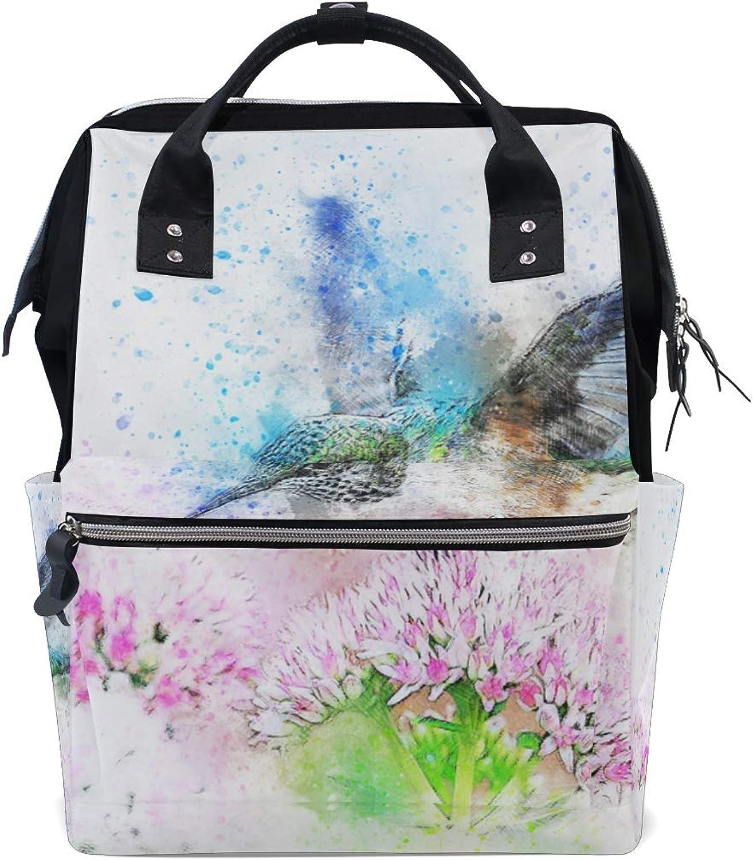 FAJRO Bird FlowersTravel Backpack Canvas Handbag School Pack