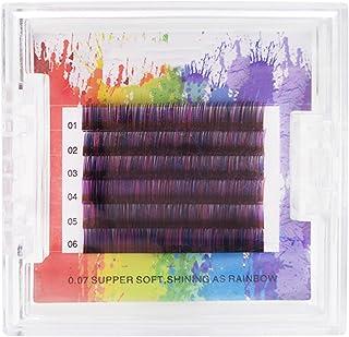 Valse wimpers, kleur planten wimpers [paars en zwart] gemengde kleur wimpers 0.07C volume natuurlijke dikke nude make-up e...