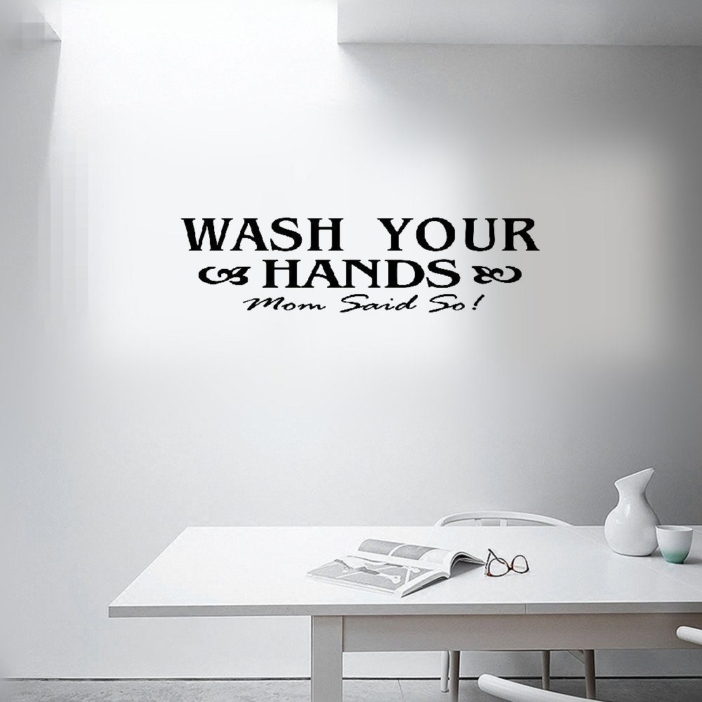 Wall Sticker Quotes Wash Your Hands Sign Mom Love Quote Wall Sticker Home Decor Black Vinyl Art Decal Removable Toilet Bathroom Wall Decals Buy Online In Aruba At Aruba Desertcart Com Productid 196459808