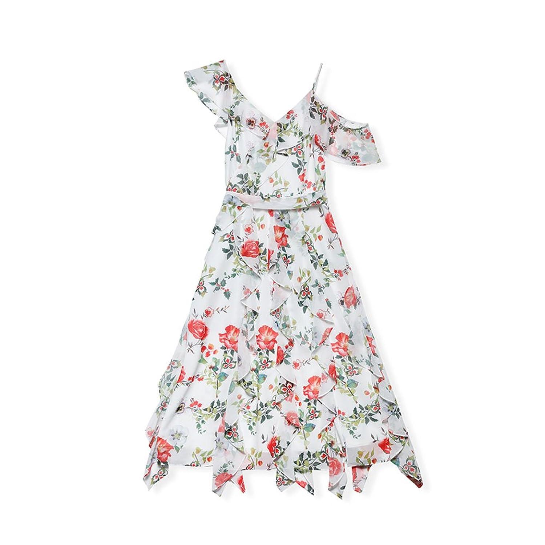 WYYY ドレス 夏の季節 ロングスカート ノースリーブ V襟 不規則な 印刷 ホワイト セレブリティ シフォンドレス イブニングドレス (サイズ さいず : XL)