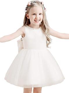 Bow Dream Flower Girl Dresses,Ivory Junior Bridesmaid Dresses, Knee Length Girls Dress, Baby Flower Girl Dress