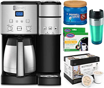 Cuisinart SS-20 Coffee Center 10-Cup Coffeemaker and Single-Serve Brewer (Silver) with 12-Count Italian Roast, Medium Roast Ground Coffee, Tumbler and Cleaner Bundle (5 Items)