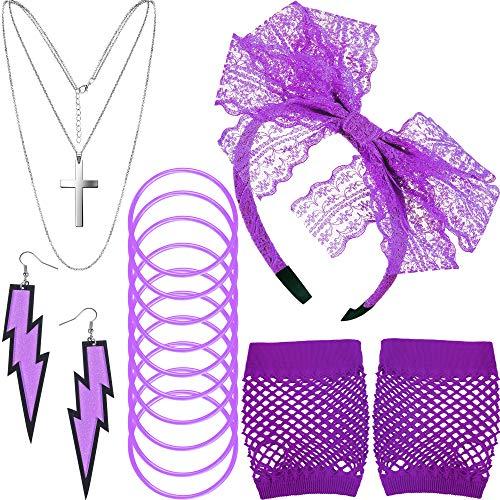 Accessoires de Costume des Années 80, Gants en Résille Serre-Tête en Dentelle Boucles d'Oreilles Collier Bracelet pour la Fête des Années 80 (Violet)