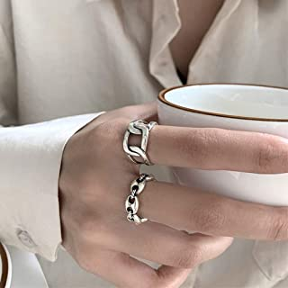 Aimimier S925 Punk Stackable Link Chain Knuckle Ring Half Open Geometric Forefinger Ring Band Gothic Midi Ring for Women a...