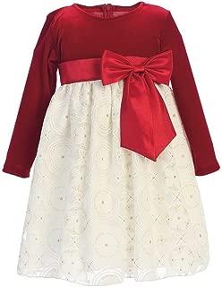 Little Girls Red Ivory Velvet Glitter Embossed Lace Christmas Dress 2T-6