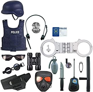 Mopoq 17 Pcs Police Costume Kit For Kids,Cop Toy Set - Badge, Handcuffs,Binoculars For Police Uniform Role Play Dress Up, ...