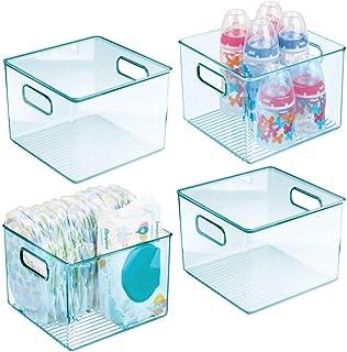 mDesign Deep Storage Organizer Container, Handles - for Kids/Child Supplies in Kitchen, Pantry, Nursery, Bedroom, Playroom...